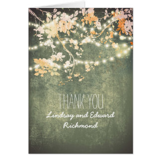 String lights branches romantic thank you card