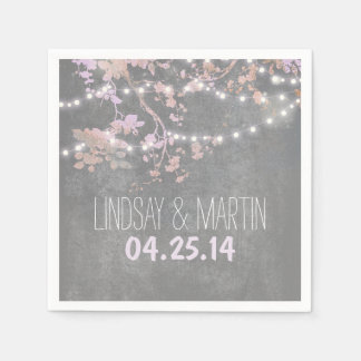 String Lights Branches Rustic Garden Wedding Disposable Napkins