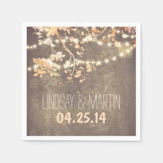 String Lights Branches Rustic Garden Wedding Paper Napkin
