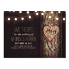 String lights carved heart rustic save the date postcard