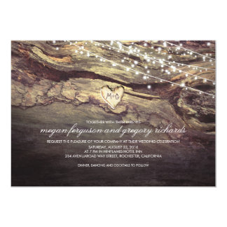 "String Lights Carved Heart Rustic Wedding 5"" X 7"" Invitation Card"