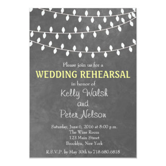 String Lights Chalkboard Wedding Rehearsal Invite