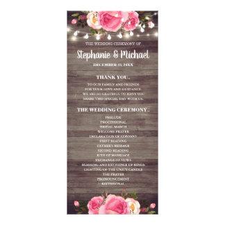 String Lights Country Floral Wedding Program