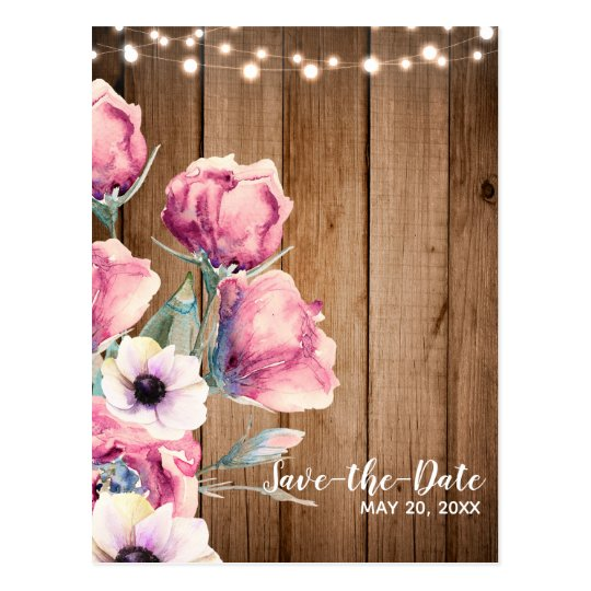 String Lights & Country Flowers Barn Save the Date Postcard