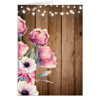String Lights & Country Flowers Rustic Barn Wood Card