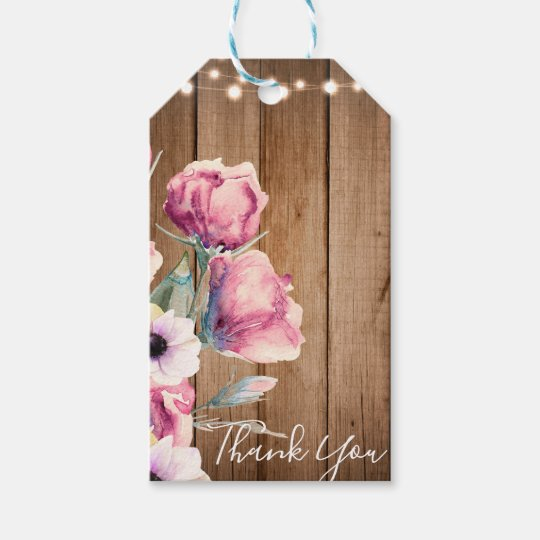 String Lights & Country Flowers Rustic Barn Wood Gift Tags