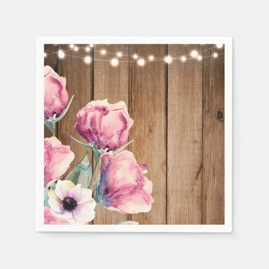 String Lights & Country Flowers Rustic Barn Wood Paper Napkins