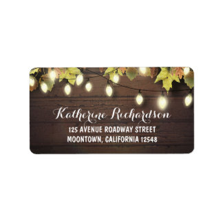String lights & fall leaves rustic address labels