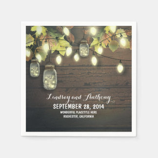 String lights fall mason jars rustic wedding paper napkin