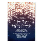 String Lights Glitter Navy Vintage Elegant Wedding Card