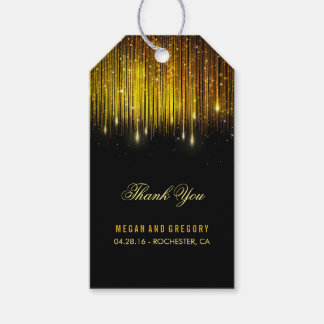 String Lights Gold and Black Wedding Thank You Pack Of Gift Tags