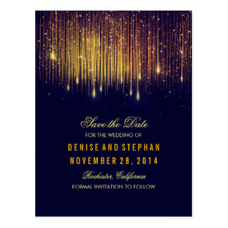 string lights gold confetti navy save the date postcard
