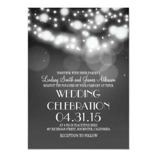 String lights grey elegant wedding invites