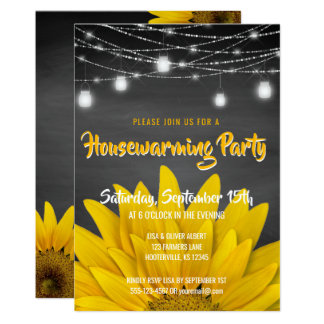 String Lights Housewarming Party Rustic Sunflowers Card