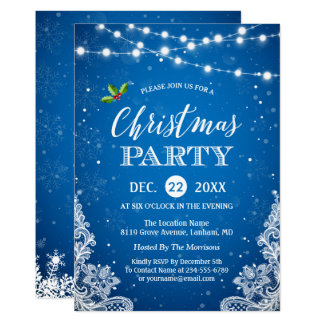 String Lights Lace Snowflakes Blue Christmas Party Card