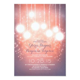 string lights & lanterns blush pink wedding invite