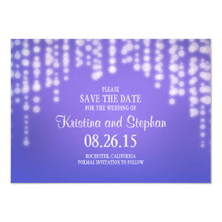 "string lights light blue SAVE THE DATE cards 4.5"" X 6.25"" Invitation Card"