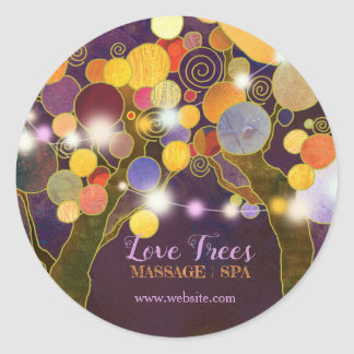 String Lights Love Trees in Purple Business Classic Round Sticker