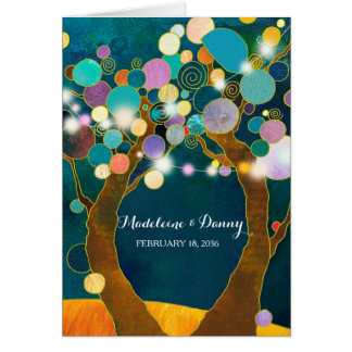 String Lights Love Trees Teal Wedding Card