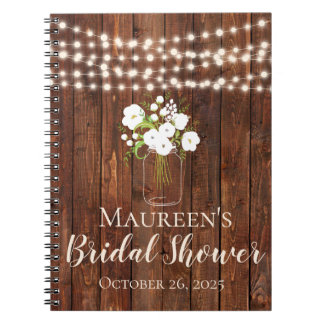 String Lights Mason Jar Bridal Shower Guest Book
