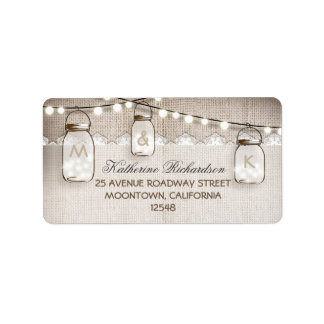 string lights mason jars address labels
