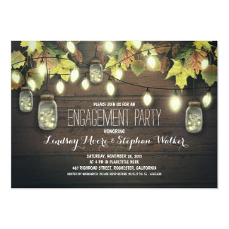 "string lights mason jars fall engagement party 5"" x 7"" invitation card"