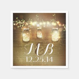 String Lights Mason Jars Rustic Barn Wedding Paper Napkins