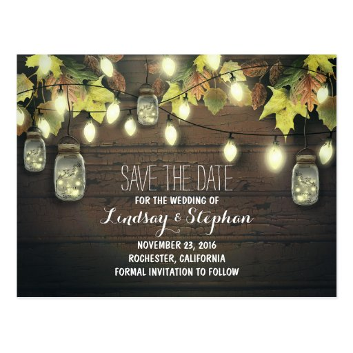 string lights & mason jars rustic save the date postcards