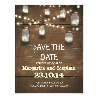 string lights & mason jars save the date cards