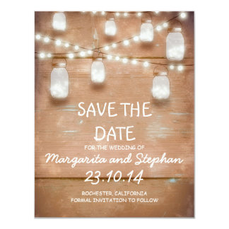 "string lights & mason jars save the date cards 4.25"" x 5.5"" invitation card"