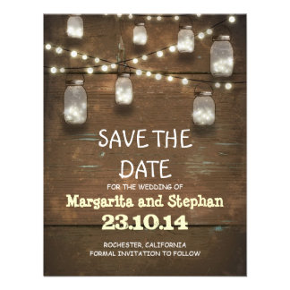 string lights mason jars save the date cards