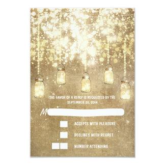 "String lights mason jars wedding RSVP cards 3.5"" X 5"" Invitation Card"