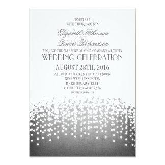string lights modern wedding invitation