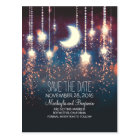 string lights moon stars romantic save the date postcard