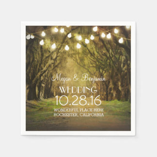 String Lights Moss Trees Paths Wedding Disposable Napkin