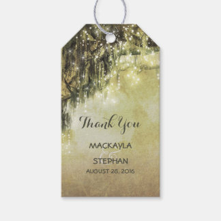 String Lights Mossy Tree Branches Wedding Gift Tags