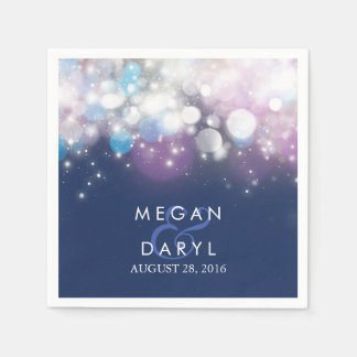 String Lights Navy Wedding Disposable Napkins