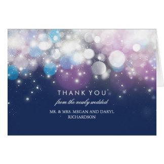 String Lights Navy Wedding Thank You Card