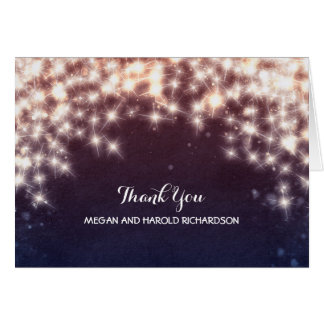String Lights Navy Wedding Thank You Note Card
