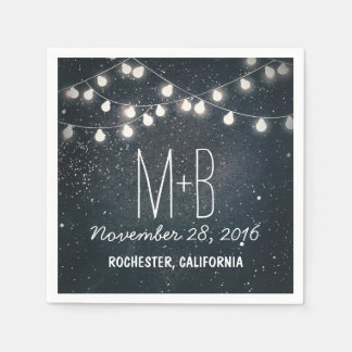 String Lights Night Stars Wedding Paper Napkins