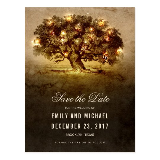 String lights old oak tree rustic save the date postcard