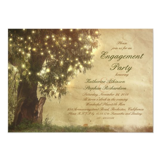 String lights old tree rustic engagement party card