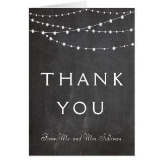 String lights on chalkboard custom thank you card