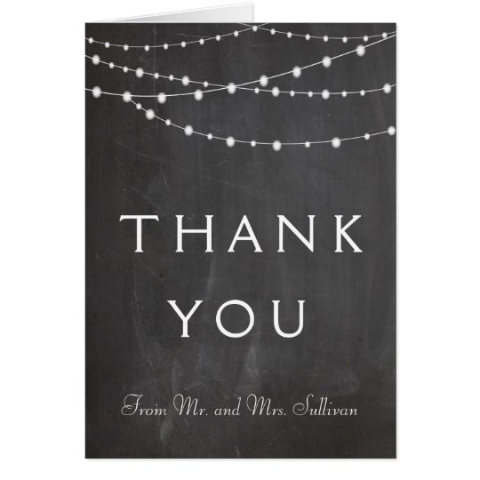 String lights on chalkboard custom thank you card