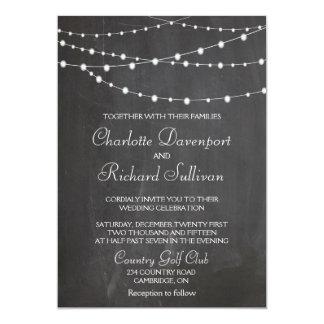 String lights on chalkboard wedding invitation 13 cm x 18 cm invitation card