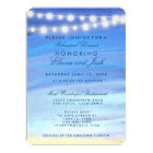 String lights on the water Rehearsal Dinner Card