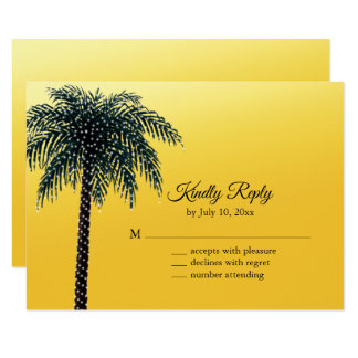 String Lights Palm Tree Golden RSVP Card