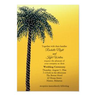 String Lights Palm Tree Golden Wedding Invitation