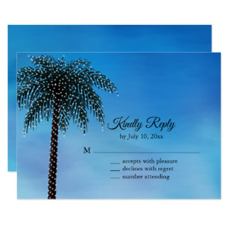 String Lights Palm Tree RSVP Watercolor Card