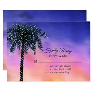 String Lights Palm Tree Sunset RSVP Card
